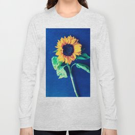 A decorative sunflower on the blue background Long Sleeve T-shirt