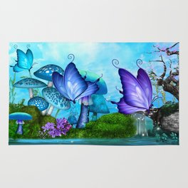 Mystic Whimsey Butterfly Pond Fantasy Rug