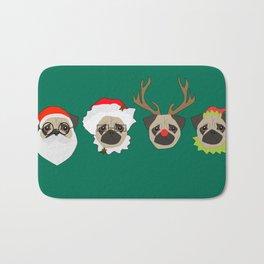 Christmas Pugs Bath Mat