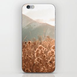 Golden Wheat Mountain // Yellow Heads of Grain Blurry Scenic Peak iPhone Skin