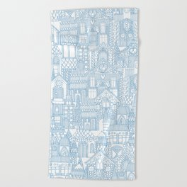 gingerbread town blue Beach Towel