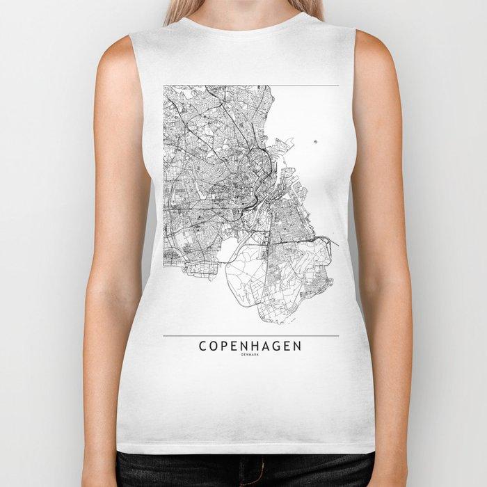 Copenhagen White Map Biker Tank