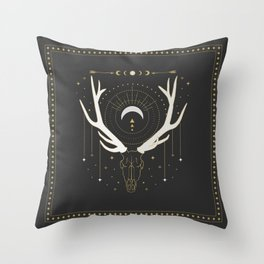Moon Deer Throw Pillow