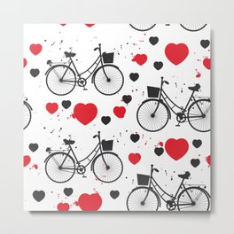 seamless pattern black bike and red heart on white background. Vector illustration Metal Print