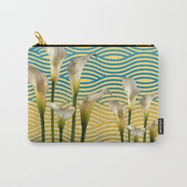WHITE CALLA LILIES BLUE-YELLOW WATER ART Carry-All Pouch