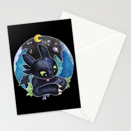 Baby Toothless Night Fury Dragon Watercolor black bg Stationery Cards