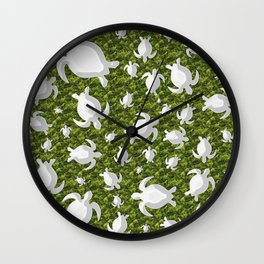 Grey turtle shapes with green nature background Wall Clock