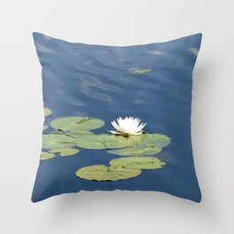 White water lily in calm waters Throw Pillow