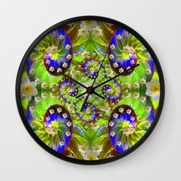ULTRA VIOLET GREEN DAFFODIL GARDEN MAZE Wall Clock