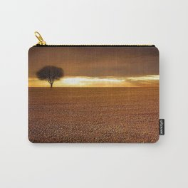 Ancient Oak Amid Ploughed Crop Field Italian sunset Carry-All Pouch