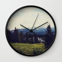 ashton irwin Wall Clocks featuring Lake Irwin by Teal Thomsen Photography