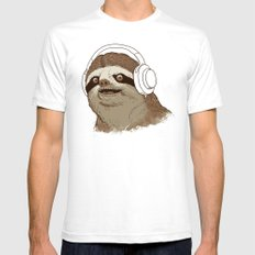 What is a sloths favourite music? White SMALL Mens Fitted Tee
