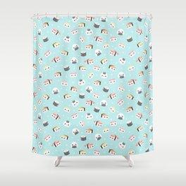 Blue Kawaii Sushi Pattern Shower Curtain