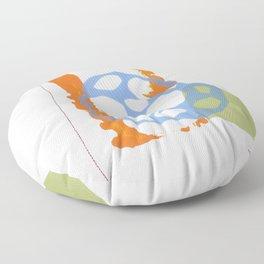Direct Line VII - collage in gray, orange, blue Floor Pillow