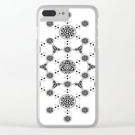 molecule. alien crop circle. flower of life and celtic patterns Clear iPhone Case