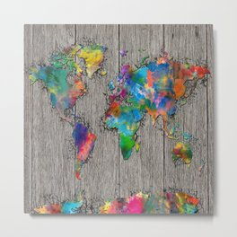world map wood 6 Metal Print
