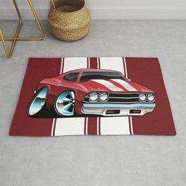 Sixties American Classic Muscle Car Cartoon Rug