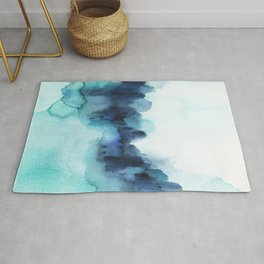 Wonderful blues Abstract watercolor Rug