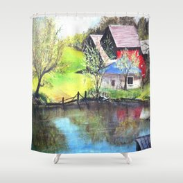 Red Barn On Lake Shower Curtain