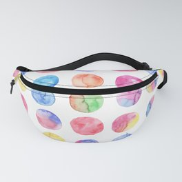 Artistic hand painted pink blue green watercolor brush strokes polka dots Fanny Pack