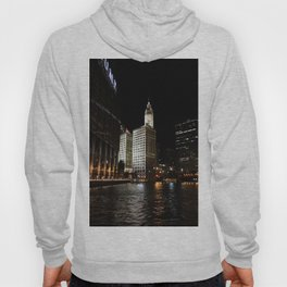 Wrigley Building and Chicago River at Night Color Photo Hoody