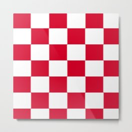 Red and white zig zag checkered artwork Metal Print