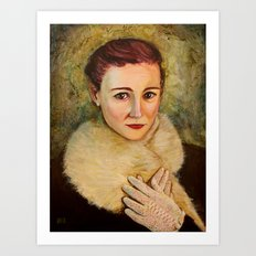 Woman in fur and lace gloves Art Print