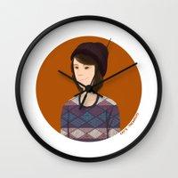 tegan and sara Wall Clocks featuring Tegan and Sara: Tegan portrait #3 by Cas.