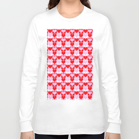 Love Heart Red Pink and White Check Pattern Long Sleeve T-shirt