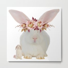 Rose Rabbits Metal Print