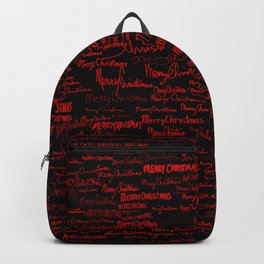 Merry Christmas, red on black Backpack