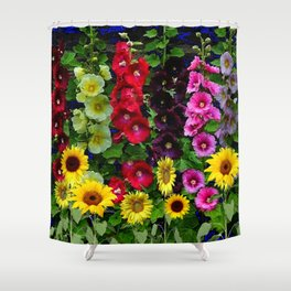 ENGLISH HOLLYHOCKS & SUNFLOWER GARDEN Shower Curtain
