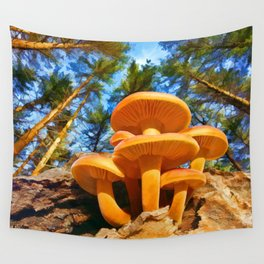 Blackbird Mushrooms Wall Tapestry