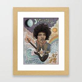 Jimi Hendrix - 11 Moons Played Across The Rainbows Framed Art Print