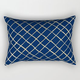 Elegant  abstract geometrical navy blue gold pattern Rectangular Pillow