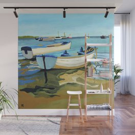 The Blue Boats Wall Mural