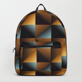 Urban Industrial Brushed Metallic-Colored Geometric Pattern Backpack