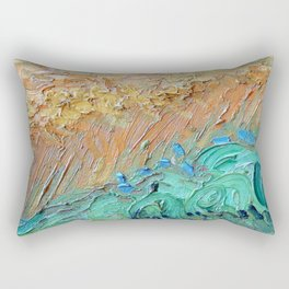 Wheat Field with Cypresses Brush Detail by Vincent van Gogh Rectangular Pillow