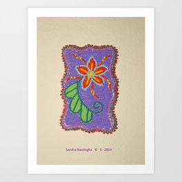 Daisy Flower Beaded Medallion 2 Art Print