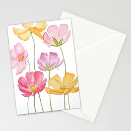 colorful cosmos flower Stationery Cards