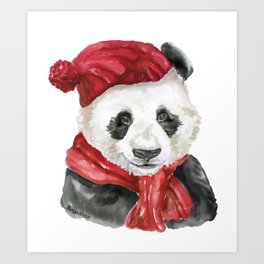 Panda Bear with Hat and Scarf Watercolor Art Print