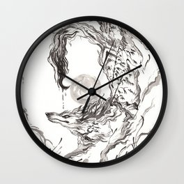 Wolf Ink Wall Clock