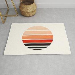 Burnt Sienna Mid Century Modern Minimalist Circle Round Photo Staggered Sunset Geometric Stripe Desi Rug