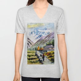 Long Walk By The Mountain Unisex V-Neck