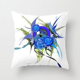 Blue flower white by Mia Niemi Throw Pillow