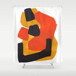 Minimalist Abstract Colorful Shapes Yellow Orange Black Mid Century Art Shower Curtain