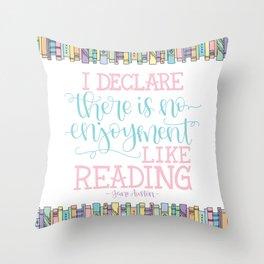 Jane Austen Quote (Pastel) Throw Pillow