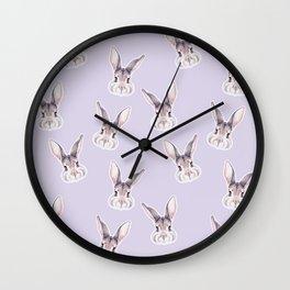Bunny Pastel Purple Pattern, Woodland Baby Animals, Nursery Animals Baby Room Decor Wall Clock