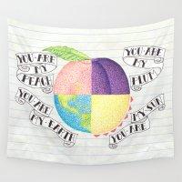 peach Wall Tapestries featuring Peach by Larissa