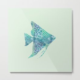Angelfish Tropical Fish Vintage Floral Pattern Shabby Chic Aqua Mint Turquoise Teal Metal Print